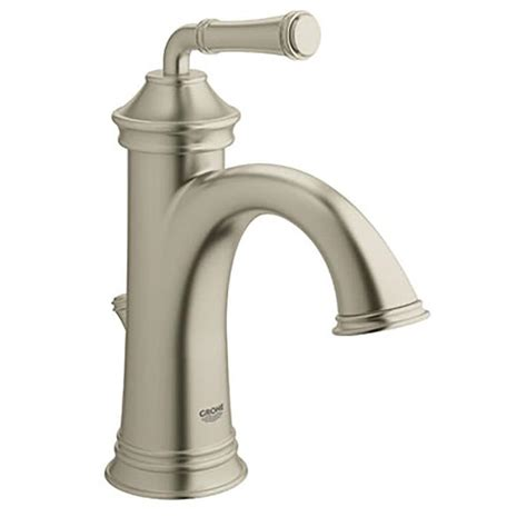 grohe bathroom sink faucets shop grohe gloucester brushed nickel 1 handle single hole