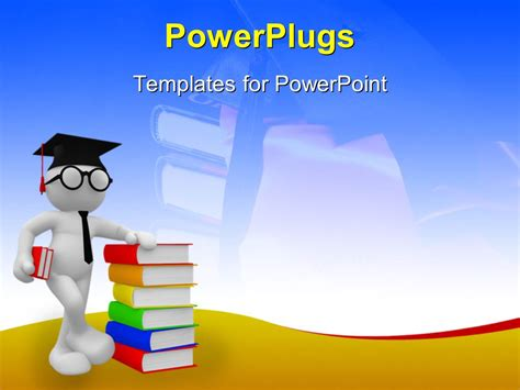 powerpoint template student standing with a pile of