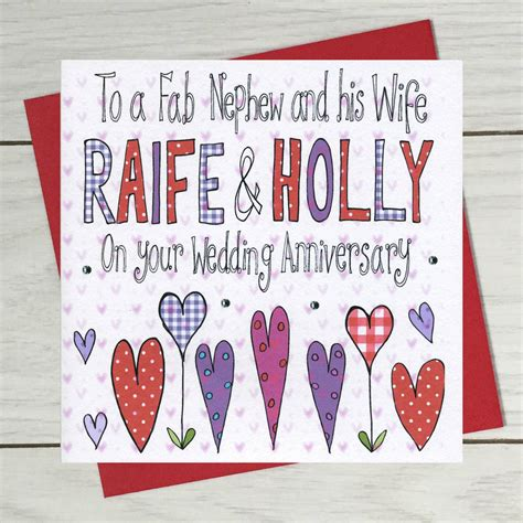 Wedding Anniversary Cards For Nephew by Personalised Niece Or Nephew Wedding Anniversary Card By