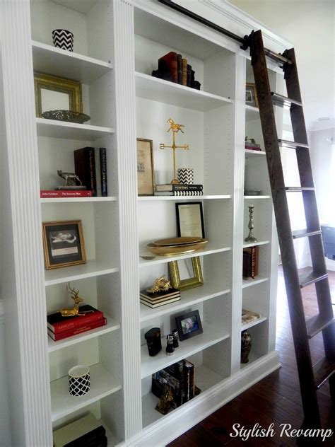 Bookcase With Rolling Ladder Ikea Billy Bookcase Hack Stylish Revamp