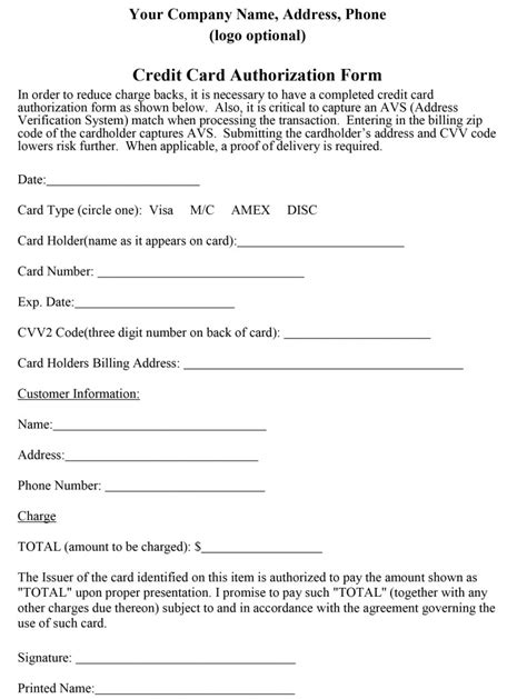 Credit Card Authorization Template by How To Properly Craft A Credit Card Authorization Form