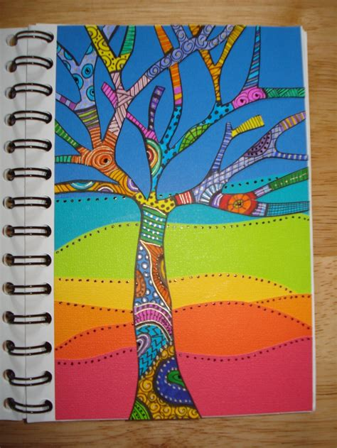 doodle doo drawing tangle tree in colors tangles