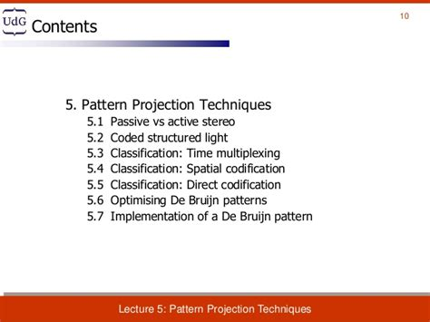 pattern classification video lectures lecture 5 pattern projection techniques