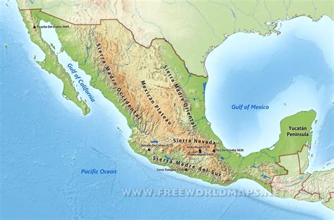 physical maps of mexico mexico physical map