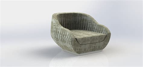 Shell Armchair by Upholstered Shell Armchair 3d Model Stl Dwg Sldprt Sldasm