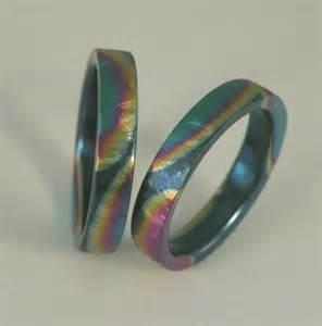 colored wedding bands ground texture rainbow color titanium handmade wedding