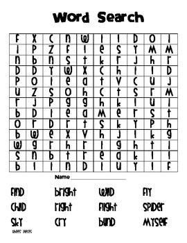 word finder pattern match word search vowel pattern i igh y by rhees pieces tpt