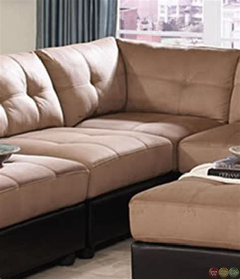 microfiber modular sectional claude two tone modular sectional sofa with buttonless
