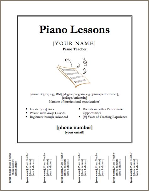 free template for advertisement just added piano lessons flyer template color in my piano