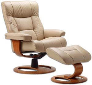 Scandinavian Recliner by Fjords Manjana Ergonomic Leather Recliner Chair Ottoman