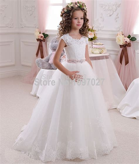 pretty scoop ivory white lace flower dresses 2016