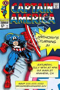 invitations captain america birthday party favors avengers