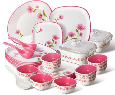 L 41 Pink Set nayasa printed plastic dinner set 30 pieces pink le daalo
