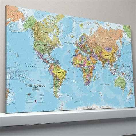 world map canvas world canvas map print