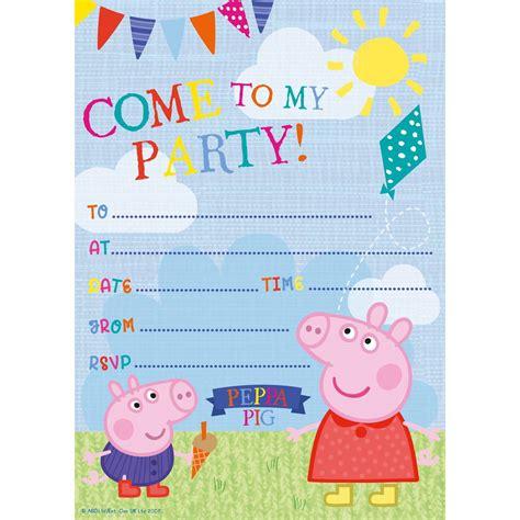 Peppa Pig Party Invitations 20 Pack Hobbycraft Peppa Pig Birthday Invitation Free Template