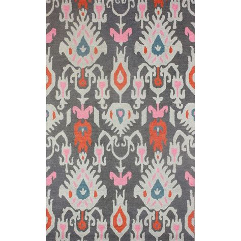 Jp Calista Grey Blue nuloom hooked ikat wool grey rug 5 x 8 overstock shopping great deals on nuloom