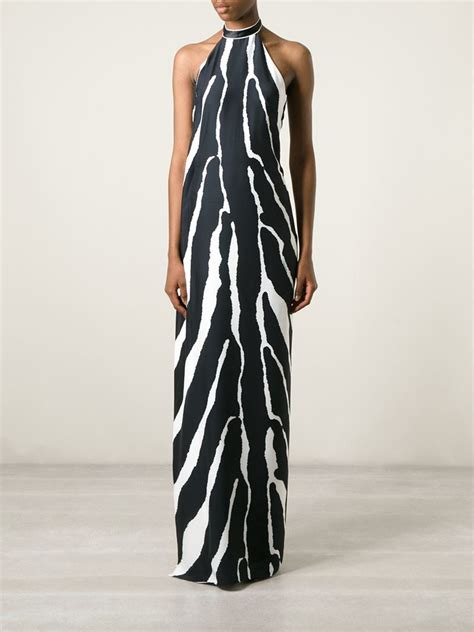 Print Halter Dress lyst roberto cavalli zebra print halterneck dress in black