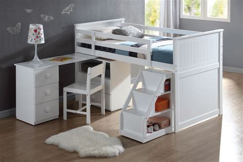 White Loft Bunk Bed Wyatt White Loft Bed Unit With Desk And Chair Bunk Beds Af 19405 412 4