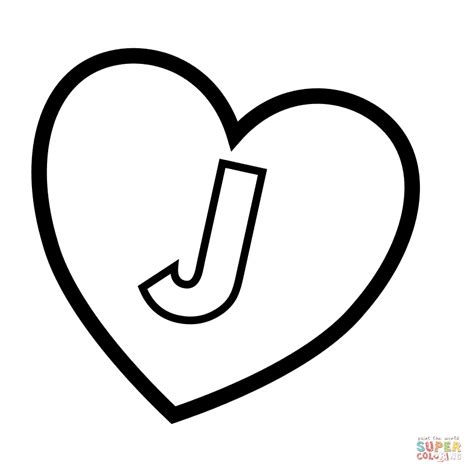 coloring page of letter j letter j in heart coloring page free printable coloring