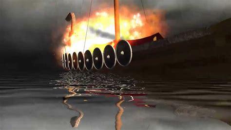 viking fire boat viking dragon ship on fire viking funeral 3d animation