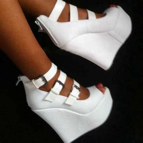 comfortable peep toe wedges white pu women pumps high heel wedges platform peep toe
