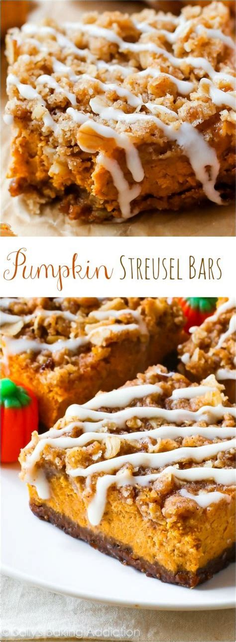 pumpkin bars with streusel topping gingersnap crust streusel topping and pumpkin pies on