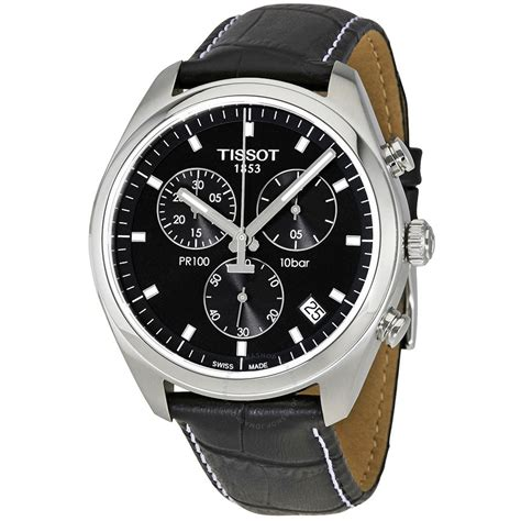 tissot pr100 chronograph black black leather s