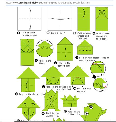 Origami Frog Diagram - go to origami club fishy90 s
