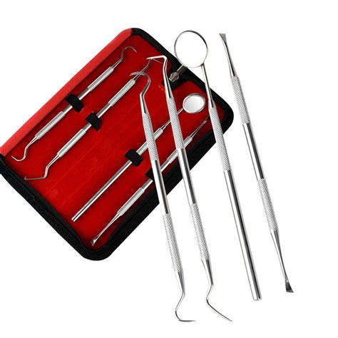 4pcs Stainless Scraper Set Black Dimension 4pcs stainless steel dental teeth cleaning kit clean mirror scraper scaler probe waxing