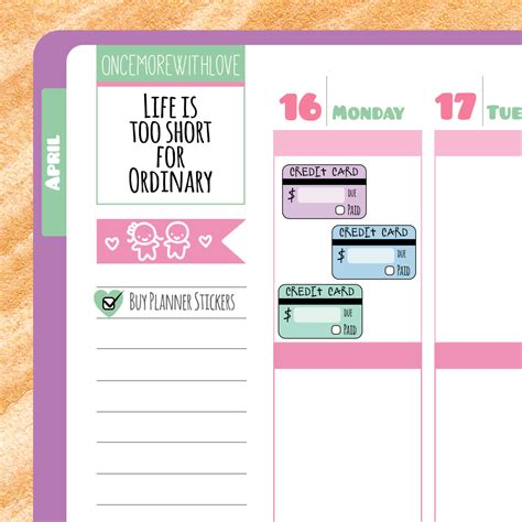 Credit Card Payment Reminder Letter credit card bill payment reminder planner by oncemorewithlove