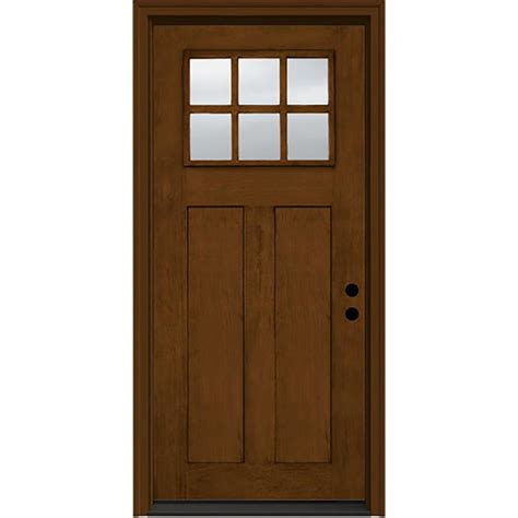 Shop Jeld Wen Craftsman Decorative Glass Left Hand Inswing Prehung Fiberglass Exterior Doors
