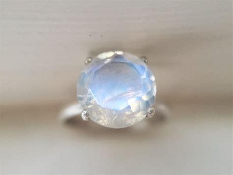 9mm Rainbow Moonstone Ring and Chevron Ring Set   Handmade