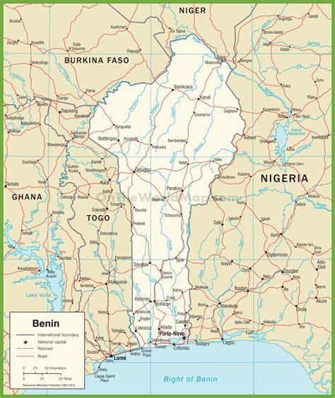 benin on the map benin road map
