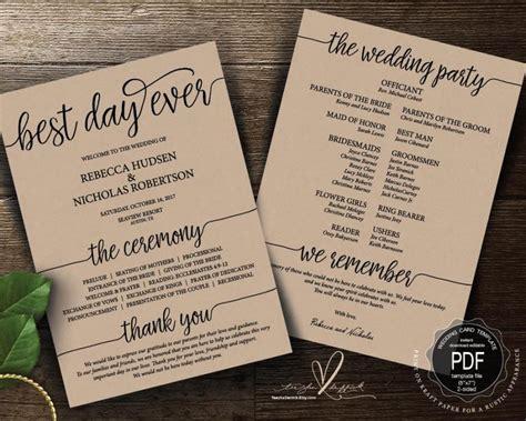 best day wedding invites best day wedding program pdf card template instant