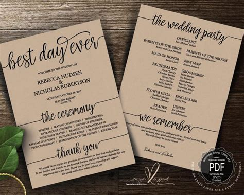 Best Day Ever Wedding Program PDF Card Template, Instant
