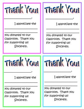 thank you notes for donation thank you note for classroom donations by betsy hadley tpt