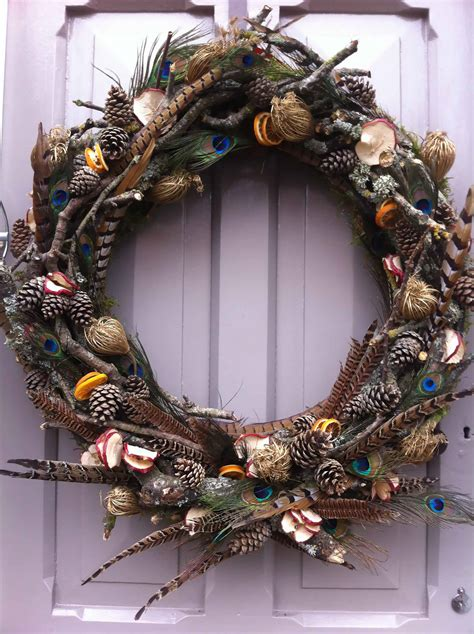 Dickensian christmas wreath with pheasant feathers and