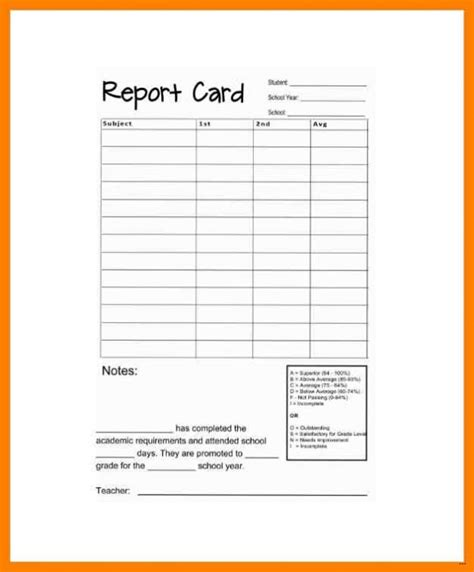 report card template release photo homeschool in excel
