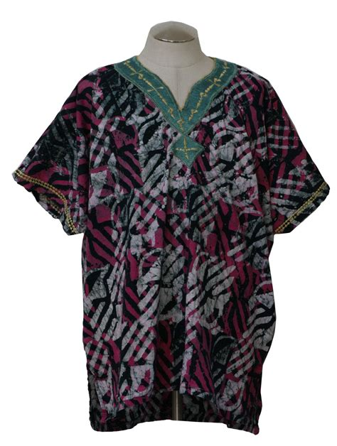 Blouse Batik Cantika Green White Yo 1970 s hippie shirt 70s no label mens pink black