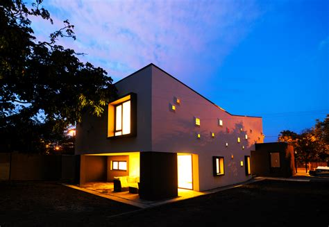 modern inspiring house integrating colourful lights in