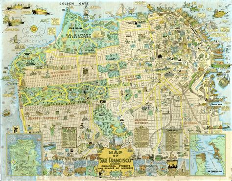 san francisco highlights map 1927 tourist map highlights neighborhood landmarks