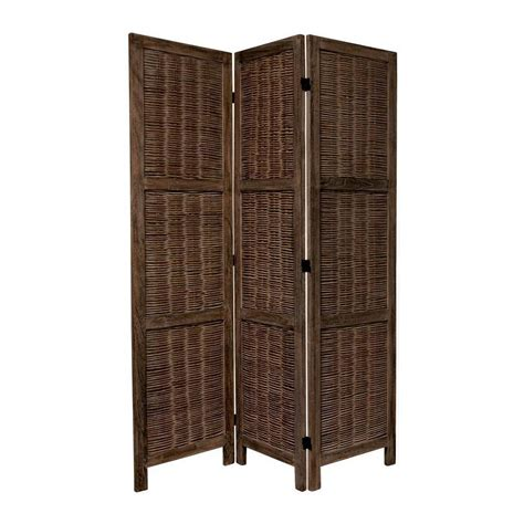 Indoor Privacy Screen Living Room Furniture Shop Furniture 3 Panel Burnt Brown Wood Folding