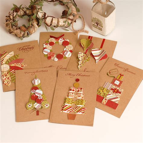Handmade Christmas Gift Cards - 2017 vintage paper 3d chirstmas greeting cards handmade kraft christmas cards business