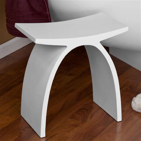 Modern Vanity Stool For Bathroom Dahlia Resin Bath Stool White Matte Finish Modern Vanity Stools And Benches By Signature