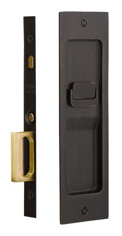 Emtek Sandcast Bronze Rustic Modern Rectangular Pocket Door Mortise Lock Emtek 2115 Template