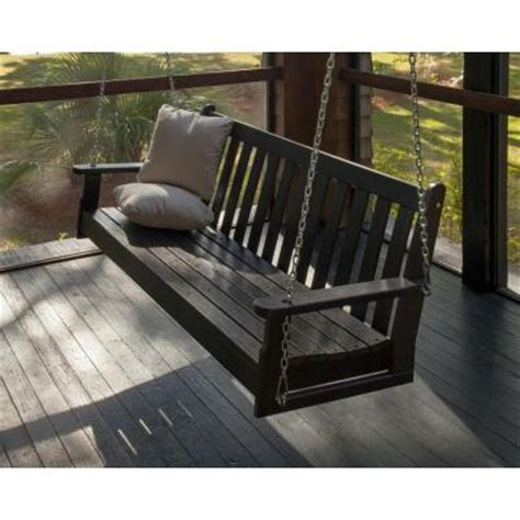polywood vineyard   black patio swing gnsbl