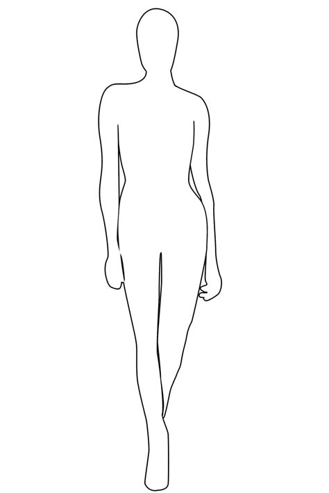 human figure template printable outline coloring home