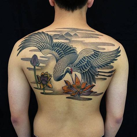 japanese crane tattoo soaring crane cool tattoos ideas