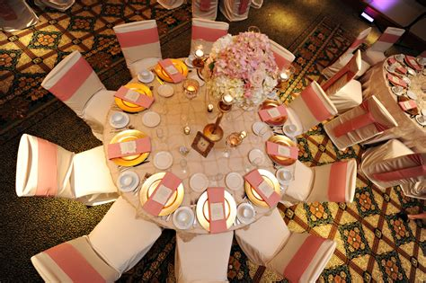 reception decor once wed elegant table settings gold elegant pink and gold florida wedding every last detail