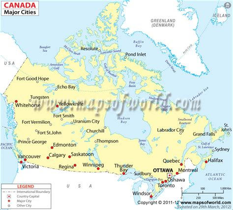 map of canada with major cities detailed map of canada with cities